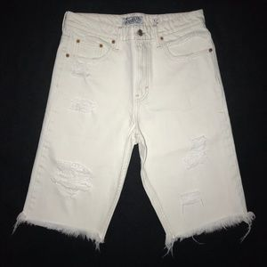 Lucky Brand High Rise Distressed Bermuda Shorts 8